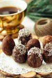 De eigengemaakte ruwe eieren van de veganistchocolade met chia en kokosnotendecor A Royalty-vrije Stock Afbeelding