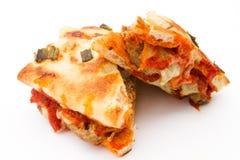 De eigengemaakte Sandwich van het Vleesballetje op Brood Focaccia Stock Foto's