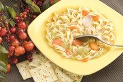 De eigengemaakte Soep van de Noedel van de Kip met Crackers Stock Fotografie