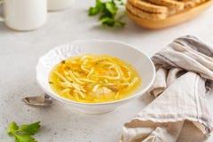 De eigengemaakte soep van de kippennoedel in een witte plaat, witte achtergrond stock foto's