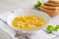 De eigengemaakte soep van de kippennoedel in een witte plaat, witte achtergrond stock afbeeldingen