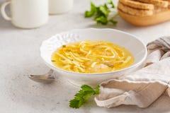 De eigengemaakte soep van de kippennoedel in een witte plaat, exemplaarruimte stock foto