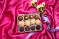 De eigengemaakte Truffels van de Chocolade Met de hand gemaakte Snoepjes Stock Fotografie