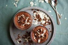 De eigengemaakte voorbereide chocolademousse met kokosnotenroom en chocolade bestrooit Royalty-vrije Stock Foto's