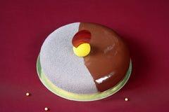 De eigentijdse Cake van de Chocolademousse Stock Fotografie