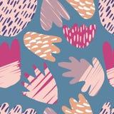 De eigentijdse getrokken hand bevlekt achtergrond Abstract bloemen naadloos patroon vector illustratie