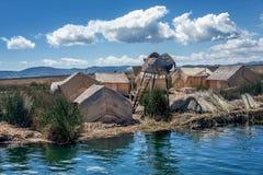 De eilanden neer Puno, Peru van het Totorariet Stock Foto's