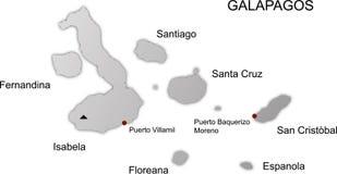 De eilanden van de Galapagos brengen vector in kaart stock illustratie