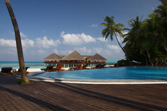 De Eilanden van de Maldiven van de strandtoevlucht Stock Foto's