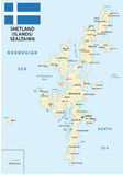 De eilandenkaart van Shetland met vlag vector illustratie