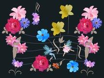 De eindeloze muzikale illustratie met snaren en nota's in de vorm van tuin bloeit, muzikaal personeel en klein gevleugeld fee en  royalty-vrije illustratie