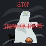 De eindetruc of behandelt - met afschuw vervuld spook vector illustratie