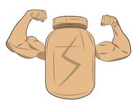 De eiwitkruik van de machtsenergie met vector de tekeningsillustratie van spierhanden Stock Fotografie