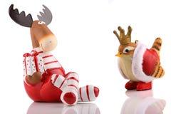 De elanden van Kerstmis met vogel. Royalty-vrije Stock Afbeeldingen
