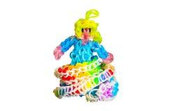 De elastiekjes van het regenboogweefgetouw met kleurrijke manierprinses Stock Foto