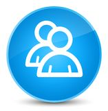 De elegante cyaan blauwe ronde knoop van het groepspictogram Stock Foto's