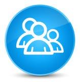 De elegante cyaan blauwe ronde knoop van het groepspictogram Royalty-vrije Stock Afbeeldingen
