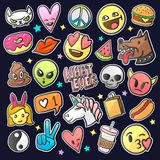 De elegante flarden van de pop-artmanier, spelden, kentekens en stickers, vector Stock Foto