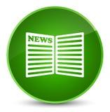 De elegante groene ronde knoop van het krantenpictogram Stock Foto's