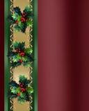 De elegante Hulst en het lint van de Grens van Kerstmis Stock Foto
