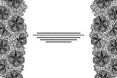 De elegante kaart met zwart kant bloeit grens royalty-vrije illustratie