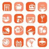 Voedseltype van de kleur pictogrammen Stock Afbeeldingen