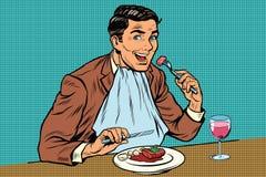 De elegante retro mens eet in de het restaurant en het drinken wijn stock illustratie