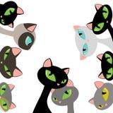 De elegante Vlakke VectordieIllustratie van Cat Heads Peeking Design Set op Wit wordt geïsoleerd Royalty-vrije Stock Afbeelding