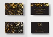 De elegante zwarte luxeadreskaartjes met marmeren textuur en goud detailleren vectormalplaatje, banner of uitnodiging met vector illustratie