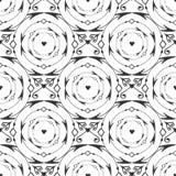 De elegante zwarte ronde smeedde naadloos patroon Vector zwart-witte achtergrond met pijl, cirkel en hartdecoratie Royalty-vrije Stock Afbeeldingen