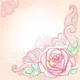 De elegantieachtergrond met gestippeld nam bloem en decoratief kant op de geweven achtergrond met vlekken in pastelkleuren toe Royalty-vrije Stock Fotografie