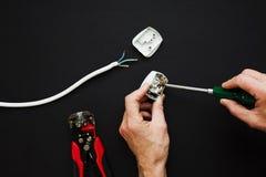 De elektricien heeft opengestelde stop royalty-vrije stock afbeelding