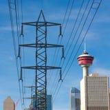 De Elektriciteitscityscape van Calgary Stock Afbeeldingen