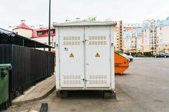 De elektrische bouw van de Transformatorruimte stock foto
