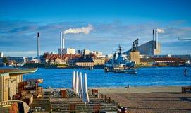 De Elektrische centrale van Amagerbakke, Kopenhagen, Denemarken stock afbeelding
