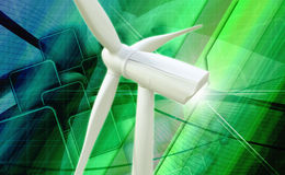 de elektrische centrale van de windmolengenerator Stock Foto's