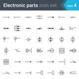 De elektrische en elektronische reeks van schakelschemasymbolen van elektroschakelaars, contactdozen, stoppen en hefboom royalty-vrije illustratie