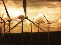De Elektrische energie van de de Machtsgeneratie van windlandbouwbedrijven Stock Foto's