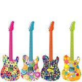 De elektrische gitaren van flower power Stock Afbeelding