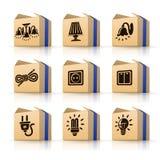 De elektrische hulpmiddelen van pictogrammen in dozen Stock Foto
