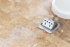 De elektrische opstelling van stopcontactdozen op de vloer Royalty-vrije Stock Afbeelding