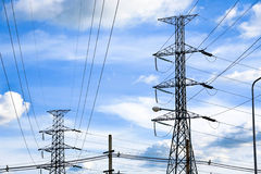 De elektrische postpost van de krachtcentraletransformator Stock Foto's