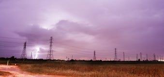 De elektro van de de Bliksemmacht van de Onweersonweersbui Lijnen Galveston is Royalty-vrije Stock Foto