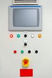 De elektrocontrole van het mechanismepaneel, op installatie en proces Stock Foto