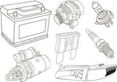 De elektrodelen van de auto Stock Afbeelding