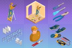 De elektrodiensten Isometrisch Concept Arbeider, materiaal royalty-vrije illustratie
