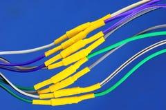 De elektrodraden worden verbonden en geïsoleerd royalty-vrije stock foto