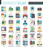 De elektronische apparaten en gadgets vector complexe vlakke symbolen van het pictogramconcept voor Web infographic ontwerp Royalty-vrije Stock Fotografie