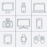 De elektronische apparaten verdunnen lijnpictogrammen vector illustratie