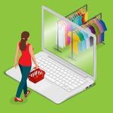De elektronische handel, betaalt online en online het winkelen concept Het mobiele kruidenierswinkel het winkelen vlakke 3d Web v Stock Foto's